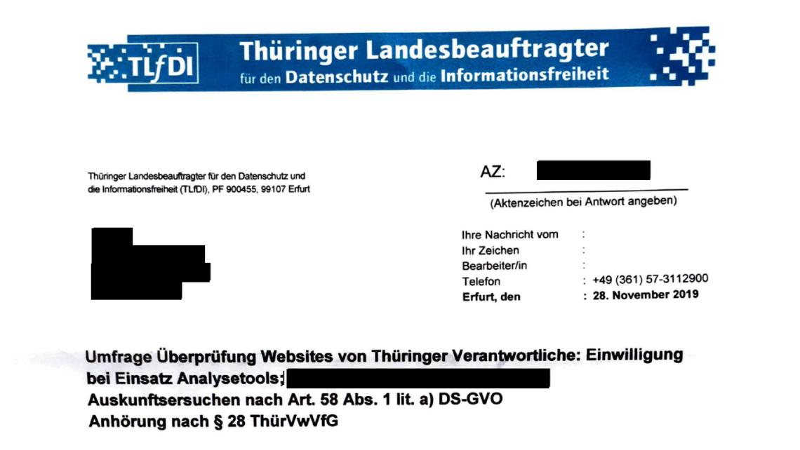 Umfrage Überprüfung Websites von Thüringer Verantwortliche: Einwilligungbei Einsatz Analysetools